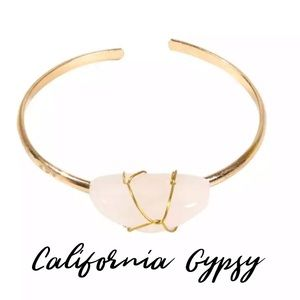 Gypsy gold rose quartz boho bracelet